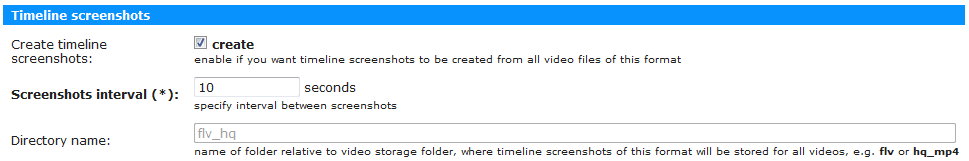 Таймлайновые скриншоты в настройках формата видео