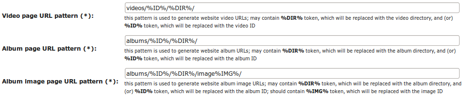 Configuring link patterns for video and album pages