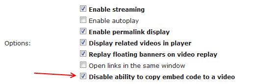 Выключение возможности скопировать embed код на видео