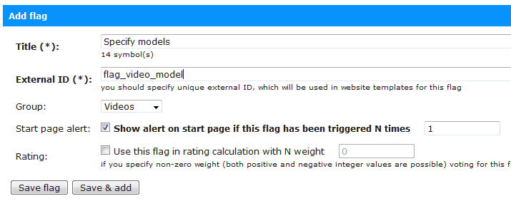 Creating a flag so that users can specify models on your site