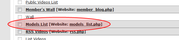 Models List page in Website UI pages list